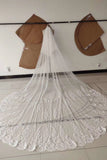 3M Long Tulle Appliques Wedding Veils W1132