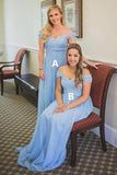 Charming Off the Shoulder Sky Blue Sweetheart Chiffon Wedding Party Dresses, Bridesmaid Dress BD1035