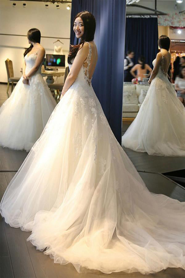 Elegant White A-Line Scoop Neck Tulle Backless Sleeveless Appliques Wedding Dress PM403