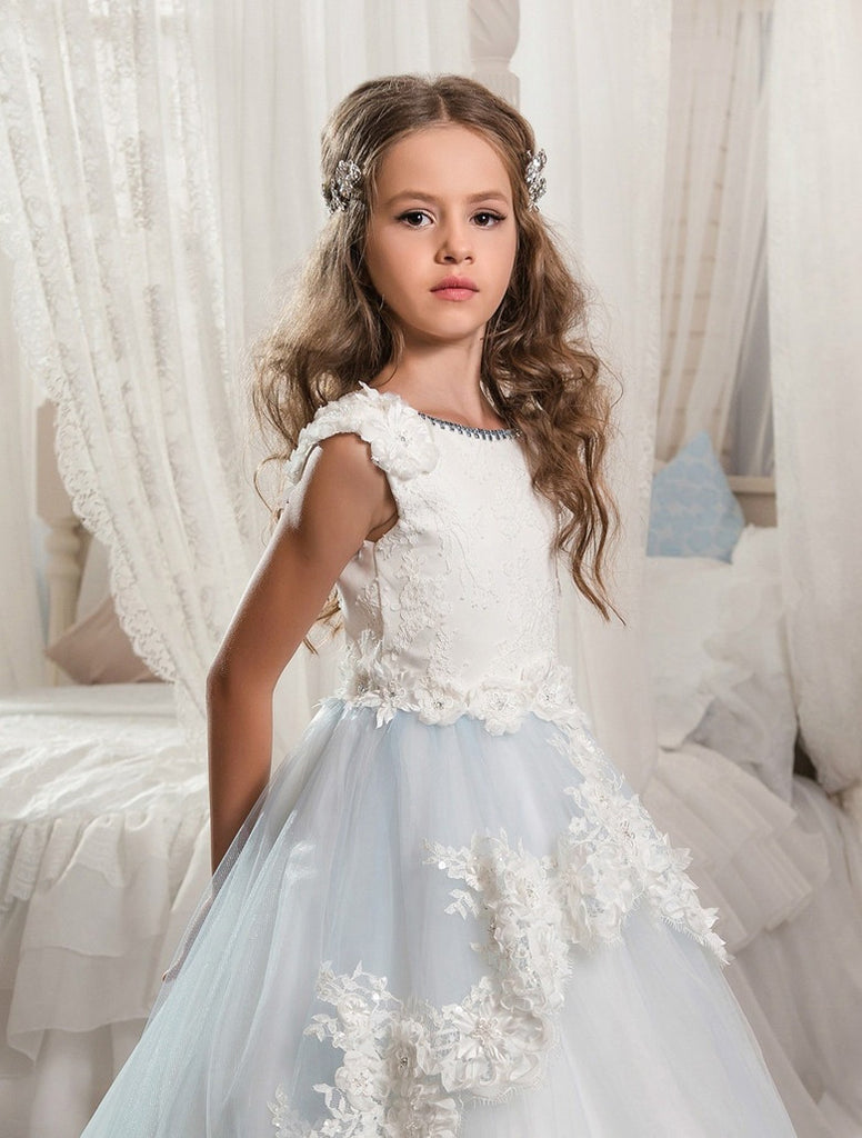New Flower Girl Dress,Hot Sale Flower Girl Dress,Appliques Tulle Flower Girl Dress PM17