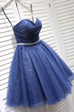 Glitter Sweetheart Blue Short Prom Homecoming Dresses Beads with Sequins Ruffles H1204