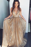 Gold Deep V-neck Prom Dresses Tulle Formal Dresses, Long Cheap Evening Dresses P1117