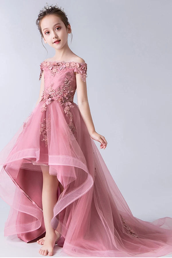 Gorgeous Pink Off the Shoulder With Lace Appliques High Low Tulle Flower Girl Dresses FG1007