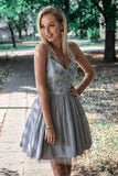 Gray V Neck Short Prom Dresses Straps Above Knee Homecoming Dress with Appliques H1142
