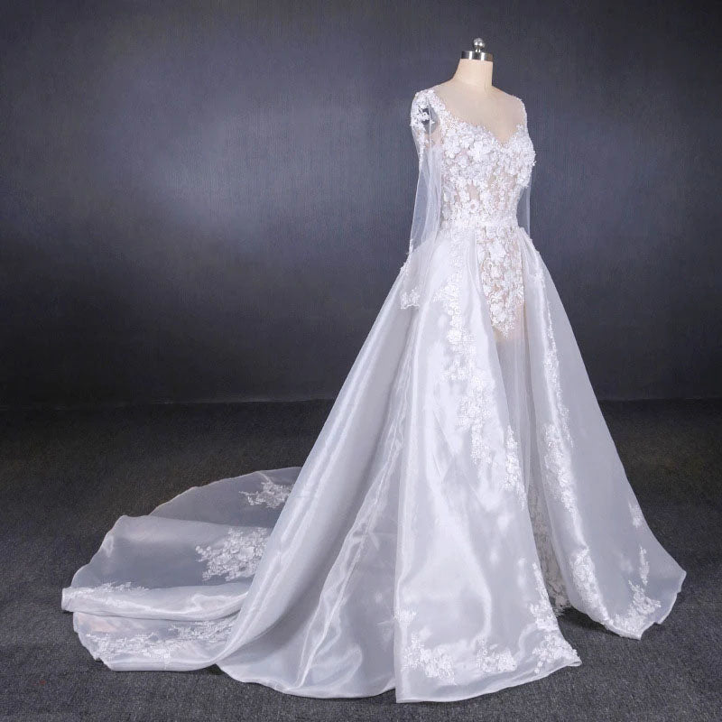 Long Sleeve Sweetheart White Bridal Dresses with Applique, Wedding Dresses W1145