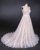 Puffy Lace Off White Wedding Dresses, Elegant A Line Backless Bridal Dresses W1137