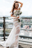 Elegant Sweetheart Lace Strapless Mermaid Ivory Wedding Dresses, Long Bridal Dresses W1265
