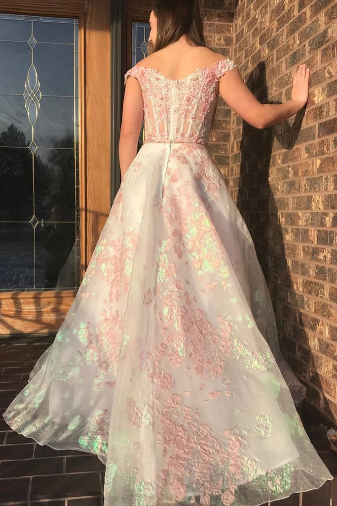 Luxury Off the Shoulder Sweetheart Pink Lace Appliques Prom Dress with Pockets P1458
