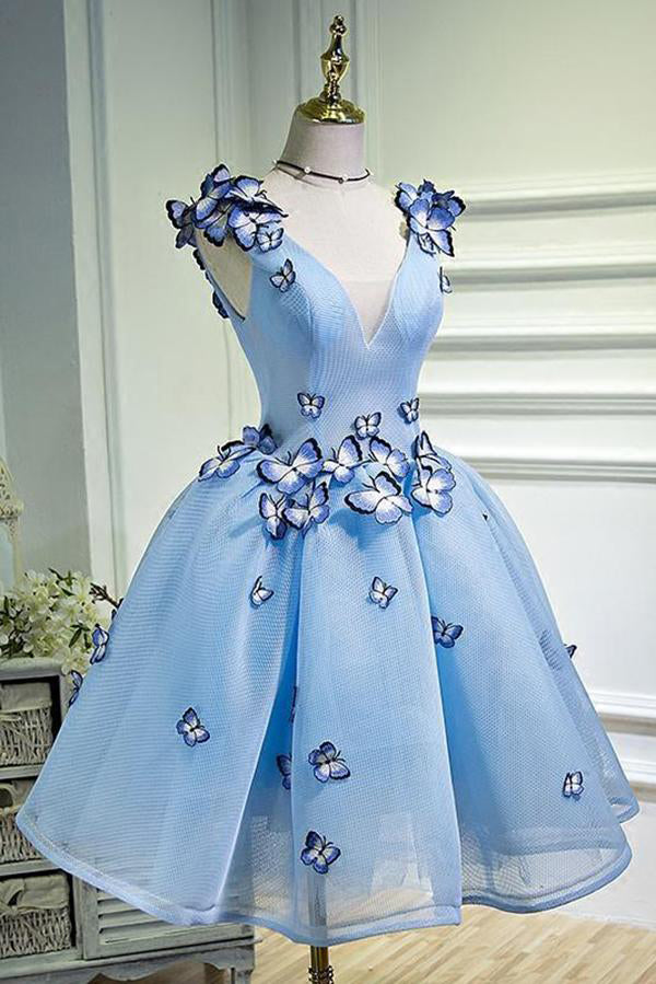 A Line Sky Blue V Neck Lace up Junior Cute Short Homecoming Dress with Butterfly Flowers PH781