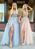 Gorgeous A Line Spaghetti Straps V Neck Beads Prom Dresses with Slit P1470