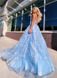 Flowy Ball Gown Light Blue Spaghetti Straps Prom Dresses, Lace Appliques Backless Prom Gowns P1332