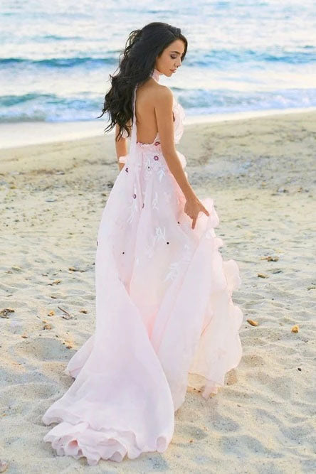 Boho Halter Backless Light Pink Chiffon Beach Wedding Dresses with Appliques Ruffles W1190