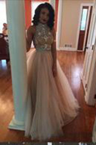 New Style Sexy Two Piece silver beaded bodice High Neck Tulle Skirts Champagne Prom Dress PH103