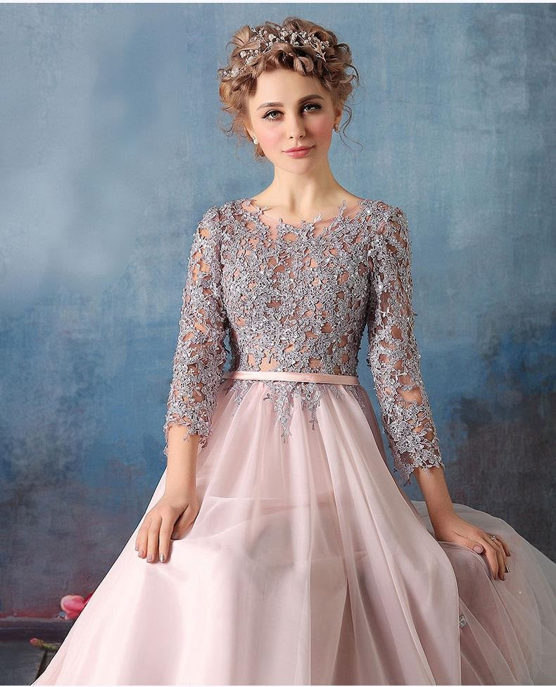 Lace Dresses With Sleeves: Scoop A-line Pink Chiffon Silver Lace Long 3/4 Sleeves