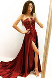 Elegant A line Strapless V Neck Burgundy Beads Prom Dresses with Slit, Party Dress P1477
