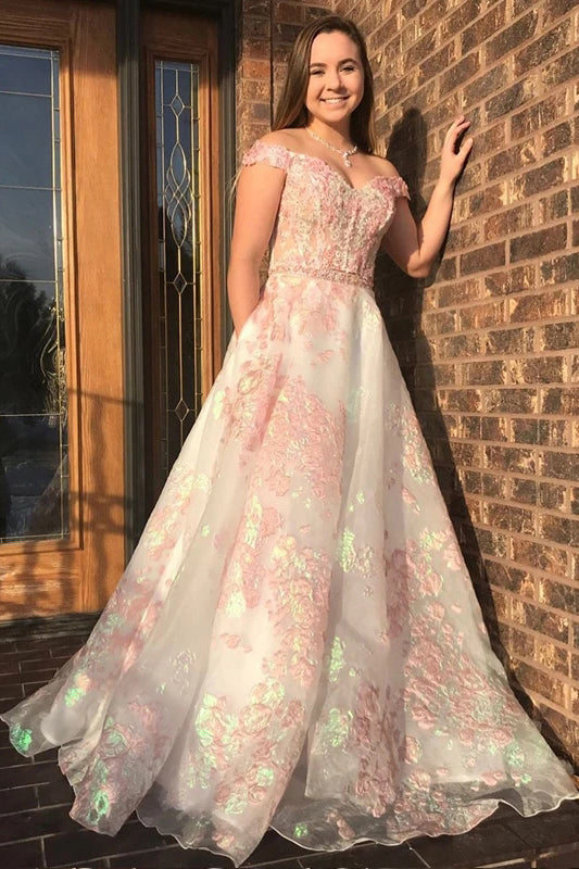 Luxury Off the Shoulder Sweetheart Pink Lace Appliques Prom Dress with Pockets P14548