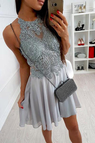 Cute Grey Chiffon Halter Lace Spaghetti Straps Short Criss-Cross Homecoming Dresses uk PH853