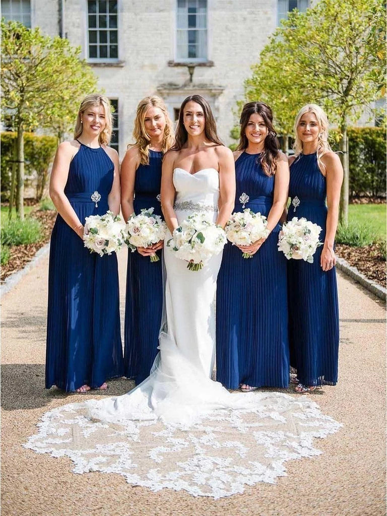 Charming Halter Neck Blue Pleated Long Bridesmaid Dresses, Wedding Party Dresses BD1024