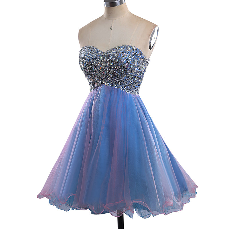 2017 Strapless Cute Sweetheart Tulle Beading Blue Rhinestone Short Homecoming Dresses PM190