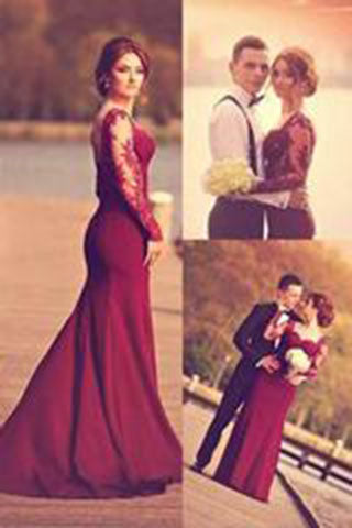 A-Line Sweetheart Long Sleeve Burgundy Prom Dress With Lace Appliques PH98