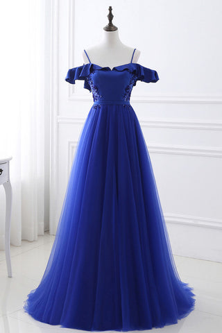 Unique Royal Blue Spaghetti Straps Off the Shoulder Ruffle Appliques Beaded Prom Dresses uk PW84