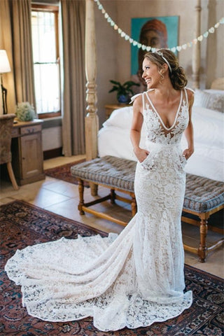 V-Neck Ruched Backless Lace Pockets Mermaid White Wedding Dress With Court Train PM303