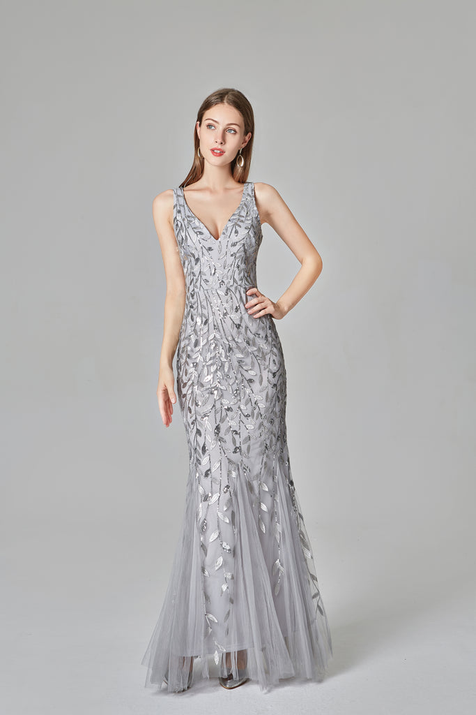 Sexy V Neck Silver Mermaid Prom Dresses, Embroidered Sequins Long Evening Dresses XU90804