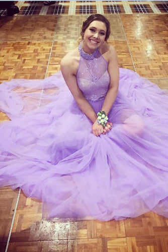 Halter A-line Lavender Tulle Prom Dress with Open Back, Long Evening Dresses uk PW411
