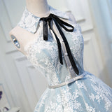 Halter Light Sky Blue Lace Appliques Homecoming Dresses with Lace up, Cocktail Dresses H1125