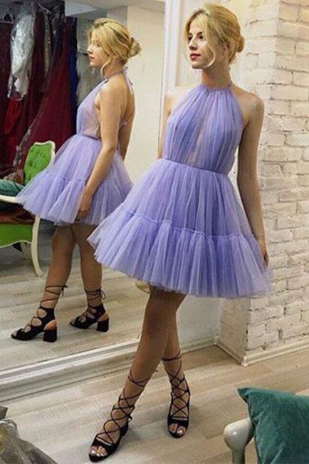 Halter Tulle Lavender Short Homecoming Dress with Open Back Above Knee Prom Dress H1263