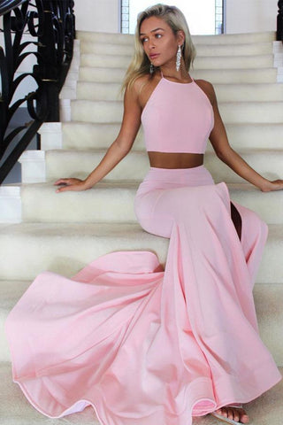 Halter Two Piece High Neck Mermaid Satin Pink Long Prom Dress with Split PW635