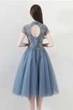 High Neck Blue Lace Appliques Knee Length Homecoming Dresses with Short Sleeve H1156