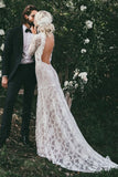 High Neck Lace Appliques Long Sleeve Mermaid Beach Wedding Dresses, Bridal Dresses W1071