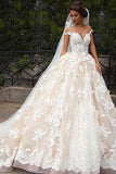 Glamorous Jewel Cap Sleeves White Court Train Wedding Dress with Lace Top PM83