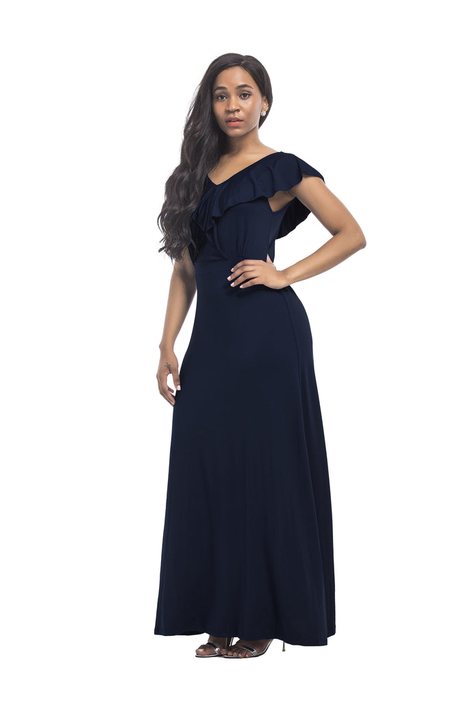 Ruffle V-neck Formal Long Dress FP3510