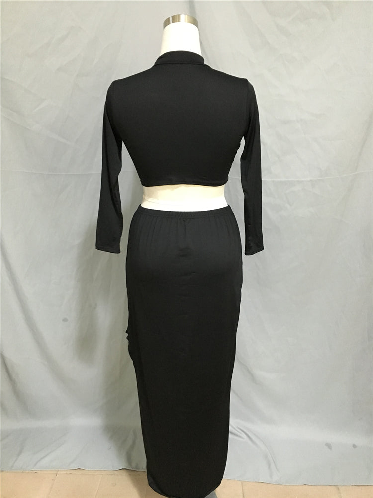 Black Long Sleeve Two Piece Mermaid Long Prom Dresses, Evening Dresses FP2138