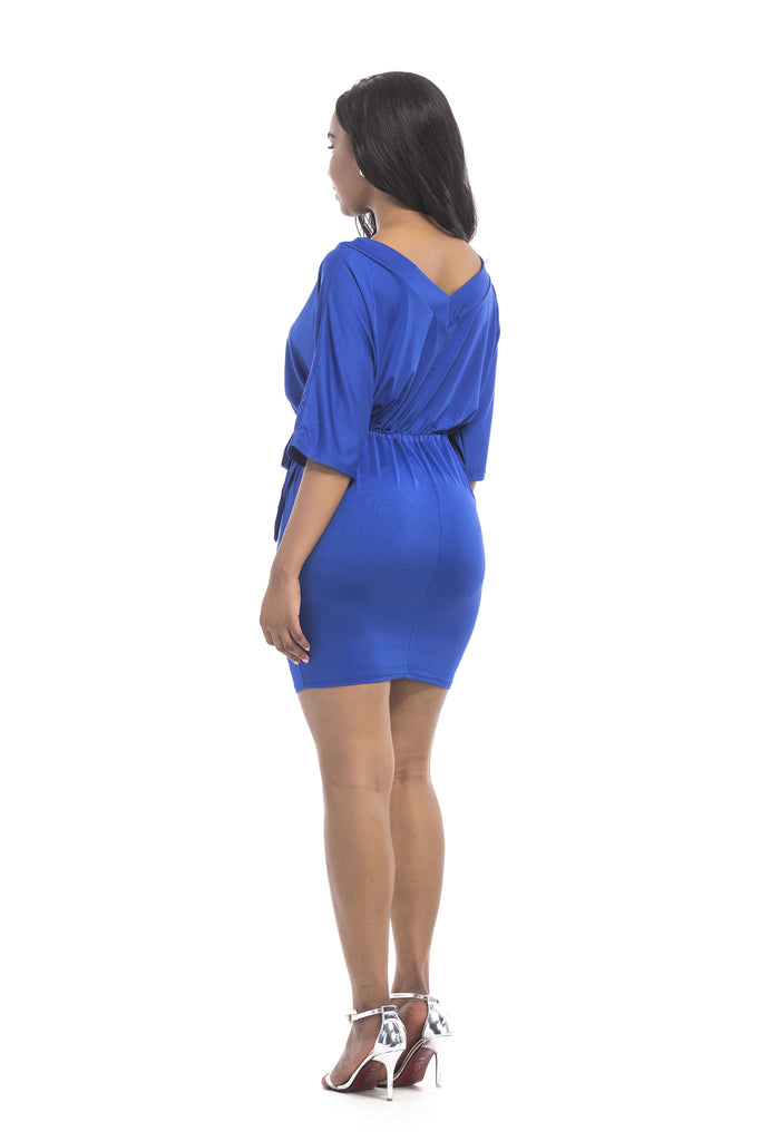 Royal Blue Short Prom Dresses 1/2 Sleeves Sheath Homecoming Dresses FP2585