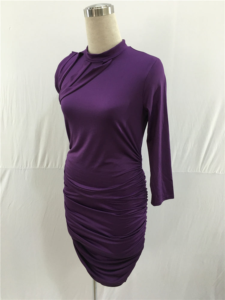 One Shoulder Purple Sheath Prom Dresses Tea Length Formal Dresses FP2192