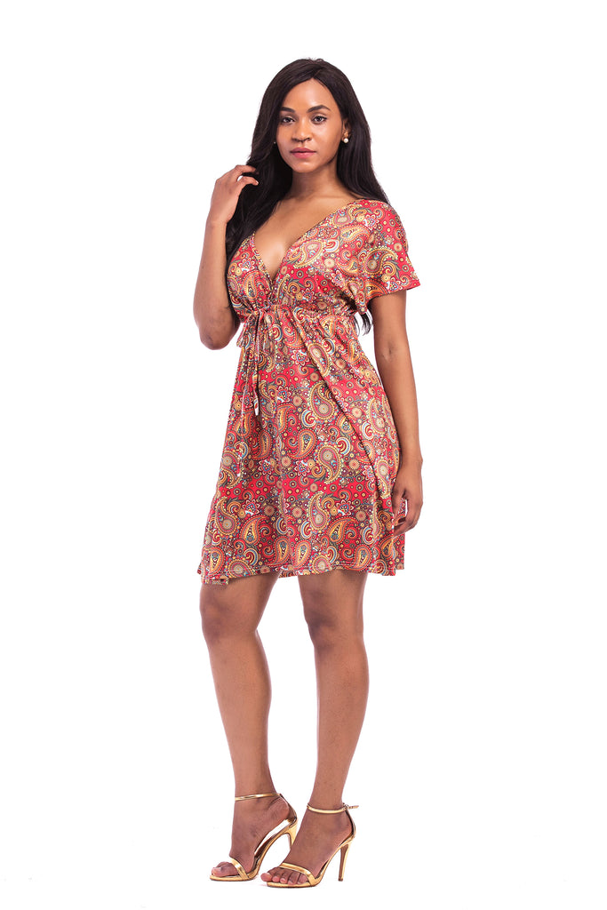 V-neck Short Sleeve Floral Dress FP6021