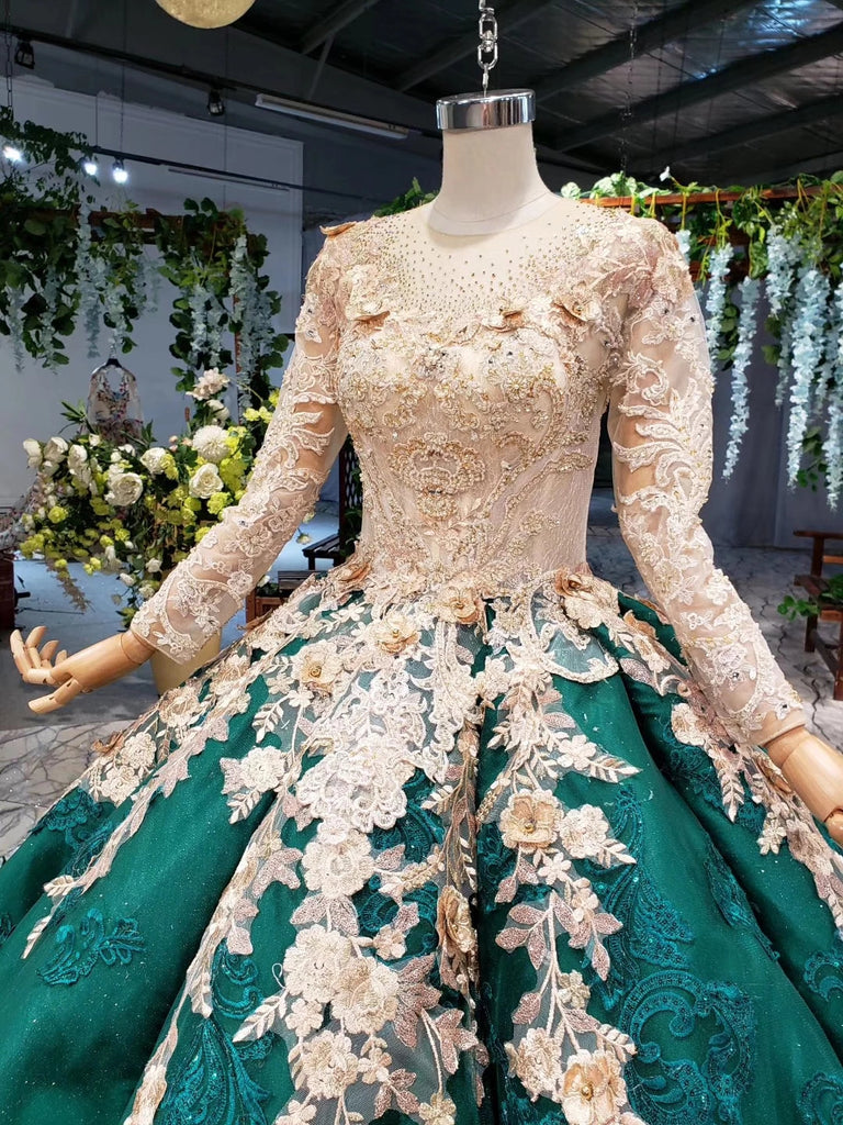 Ball Gown Long Sleeve Satin Beads Prom Dresses, Quinceanera Dresses with Appliques P1282