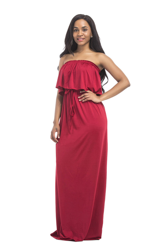 Off The Shoulder Ruffle Long Casual Dress FP6011