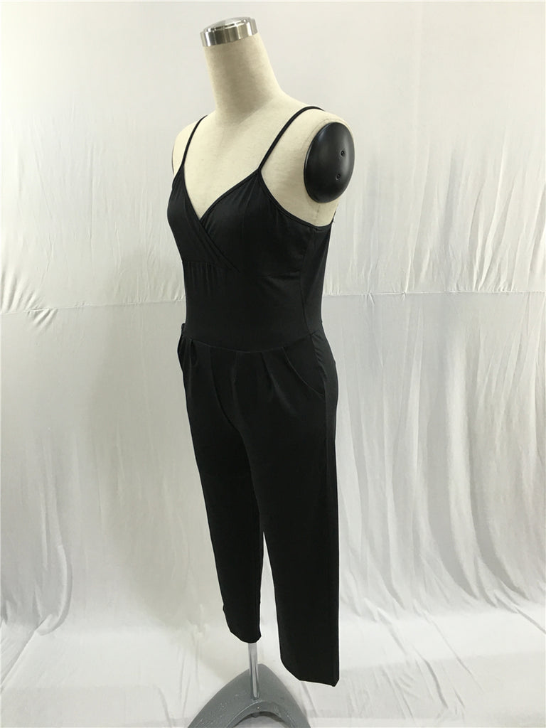 Sexy Spaghetti Straps V Neck Sleeveless Formal Jumpsuit FP2519