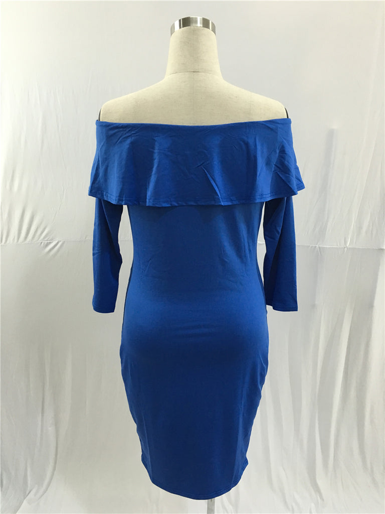 Charming Royal Blue Off the Shoulder Long Sleeve Prom Dresses, Sheath Prom Gowns FP2515