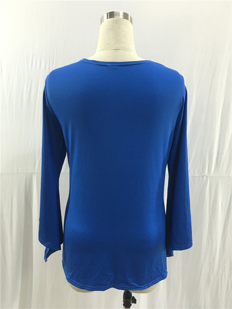 Royal Blue Long Sleeve V Neck Stretchy Casual Dresses FP2560