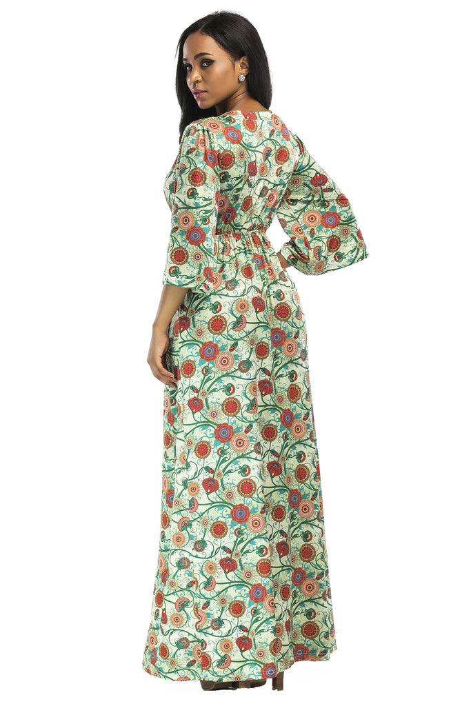 V-neck 3/4 Sleeve Floral Casual Dress, Party Dress FP6022