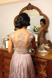 Hot V-Neck Chiffon Tulle Appliques Lace Cap Straps Sleeveless Beads Bridesmaid Dress PM697