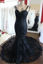 Charming Black Lace Spaghetti Strap Sweetheart Backless Mermaid Sweep Train Evening Dresses uk PH249