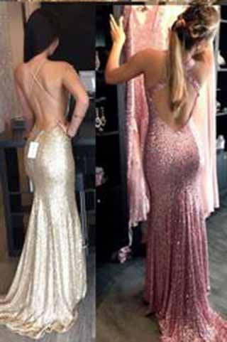 2017 Backless Sequin Mermaid Gold Long Custom Criss Cross Sleeveless Prom Dresses uk PM941