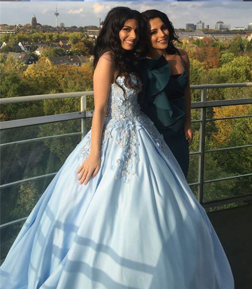 Princess Ball Gown Blue Appliques Strapless Quinceanera Dresses, Sweet 16 Dresses P1339