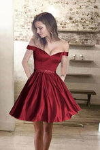 Cute Simple Off-shoulder Short Satin Mini Burgundy A-line Homecoming Dress BY56